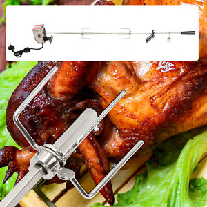 Stainless Steel Electric BBQ Rotisserie Grill Motor Fork Heavy Duty Roast UK