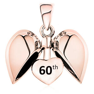 60th Birthday Celebration Charm - Rose Gold S925 Sterling Silver - Gift boxed