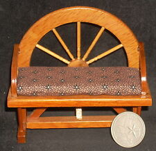 Dollhouse Mini Pillow Brown Crackle Tile - Wagon Wheel Bench 1:12 #7702