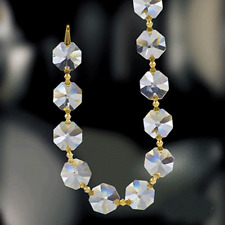 3 Feet-Clear Asfour Crystal 30% Full Lead Crystal Garland Chain With Gold Bowtie