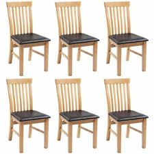 vidaXL 6x Dining Chairs Solid Oak Wood and Faux Leather Kitchen Furniture Seat