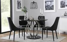 Savoy Round Black Marble and Chrome Dining Table - with 4 Modena Black Chairs