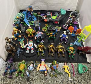 Big Lot Of Vintage 1988-1991 Teenage Mutant Ninja Turtles TMNT W/ Vehicles Parts