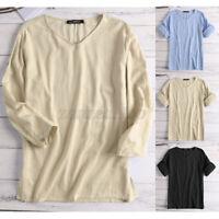 Summer Men's Roll Sleeve Linen V Neck Shirt Loose Baggy Holiday T Shirt Tops Tee