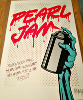 """Pearl Jam - D*Face Screen Print """"Show"""" Poster Seattle, WA 2013 1st Edition DFace"""