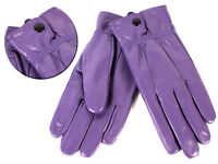 Ladies Soft Leather Gloves By Lorenz With  Button Fastening L New Purple