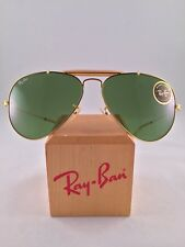 Vintage Ray Ban Bausch And Lomb Outdoorsman Gold 58mm RB3 Green Aviators New NOS