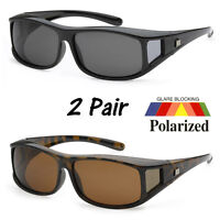 2 PCs POLARIZED cover put over Sunglasses wear Rx glass fit driving SIZE LARGE w