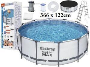 Bestway Steel Pro MAX 366x122cm Gartenpool Pool 56420 Mit Pumpe u. Zubehör 2021