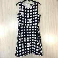 The Limited Sleeveless Dress Women's Size 6 Navy White Plaid