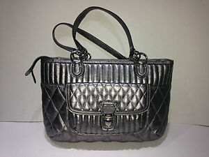 COACH Poppy Quilted Leather Shopper Tote Anthracite Pewter Metallic NWOT