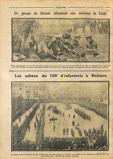 Prisoners Feldgrau Deutsches Heer Liège Belgique/Infanterie Poitiers WWI 1914