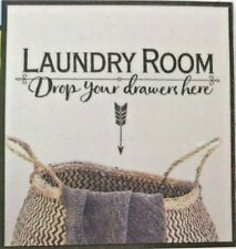 """Country Farmhouse Shabby Chic Laundry Room """"Drop Your Drawers"""" Wall Decal Sign"""