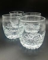 Set of 4 Crown Royal Low High Ball Glasses Etched Logo Jewel Cut Base