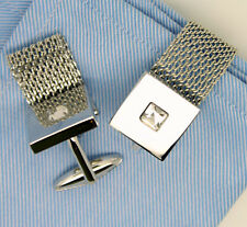 Cufflinks with Stone Silver Wrap Around Chain
