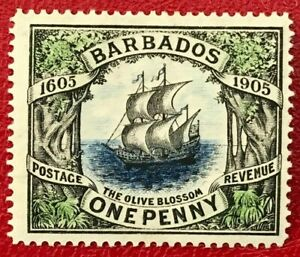 BARBADOS Sc#109 1906 Tercentenary of the 1st British landing Mint NH OG VF 17168