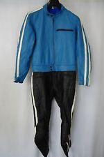 Vintage 1970's 2 Piece Leather Motorcycle Race Suit 40R W34 L29 AA1641