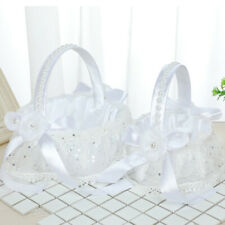 Romantic White Satin Wedding Party Bowknot Flower Girl Basket Pearl Decor Bride