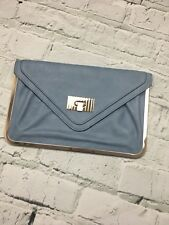 Miss Selfridge Women's Clutch Bag Envelope Style Blue Gold Edging
