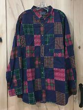 Vintage Mens L/S Button Up Patchwork Cotton Plaid Shirt SIZE XXL