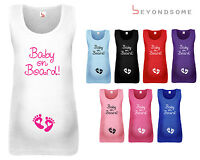 WOMENS MATERNITY VEST TANK TOP BABY ON BOARD PREGNANCY SHOWER GIFT