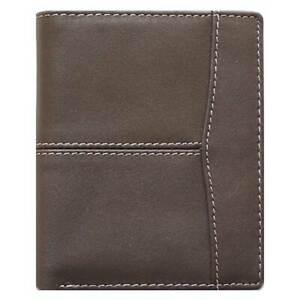 Men's Neat Bi-Fold Brown Genuine Leather Wallet ID Credit Card Holder LAZIO