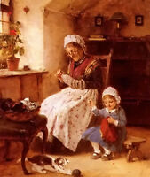 Oil painting hugo oehmichen - the sewing lesson Grandma and granddaughter canvas