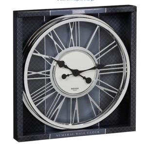 "Modern Chrome Mayfair & Co Roman Numeral Round Large 17"" Wall Clock"