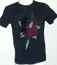Mens Black XS GUESS T Shirt Red Velvet Rose Panther Sword