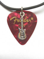 "Red Fender guitar pick necklace silver musical charm and size - 17"" to 19"""
