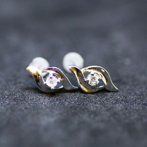 Small Cubic Zirconia Stud Earrings in Solid Sterling Silver , from Canada