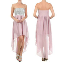 Dress Cocktail S M L Hi Low Hem Sheer Chiffon Strapless Sequin Silver Party New