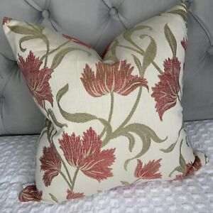 """John Lewis & Partners Colette Fabric 16"""" Cushion Cover Bright Red Woven Floral"""