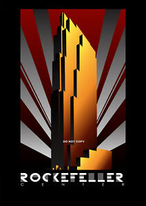 VINTAGE ART DECO ROCKEFELLER CENTER BUILDING USA  A4 GLOSSY PHOTO POSTER PRINT