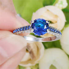Blue Sapphire Wedding Ring Women's 18K White Gold Filled Engagement Band Size 8