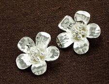 Karen Hill Tribe Silver 2  Flower Pendants 19mm.