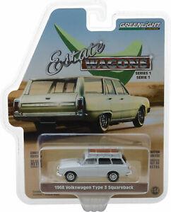 Greenlight 1/64 Estate Wagons S1 1968 Volkswagen Type 3 Squareback White 29910-D