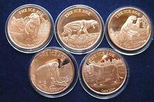 Ice Age Serie  Copper Round 5 x 1 Oz Kupfer Medaille  Mamut Löwe Bär Faultier