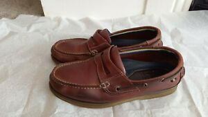 Marks And Spencer Tan Brown Leather Slip On Deck Shoes Loafers Size 8 / 42