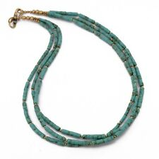 "Turquoise Solid Brass Necklace 17"" Tibetan Nepalese Handmade Tibet Nepal N2442"