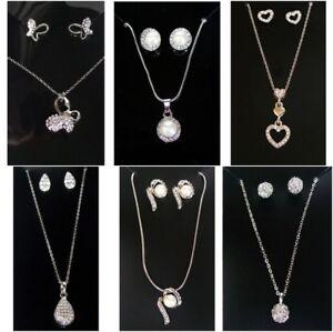 Silver Pearl Diamante Necklace Earrings Butterfly Heart Gift Set Women Girls UK