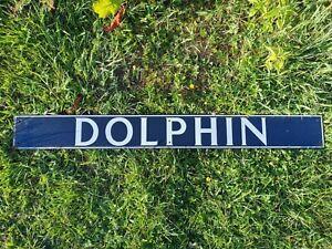 OLD VINTAGE INDUSTRIAL ENAMEL DOLPHIN PUB ADVERTISING SIGN MAN CAVE / PUB /SHOP