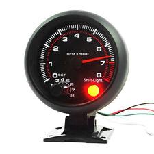 3.75 Inch Car Fitting Tachometer Gauge White Inter Shift Light 0-8000 RPM Speed