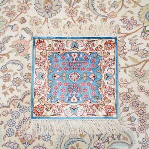 Yilong 1'x1' Small Blue Hand Knotted Area Rugs Porch Silk Carpet Tapestry 180A