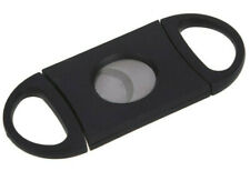 QUALITY BLACK CIGAR CUTTER STAINLESS STEEL DOUBLE TWIN BLADE UK SELLER new