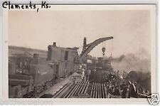 RPPC - Clements, KS - Railroad Derailment Scene - early 1900s