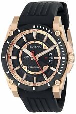 Bulova Precisionist Men's 98B152 Quartz Black Rubber Strap 46.5mm Watch