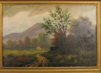 ANTIQUE ARTIST SIGNED OIL PAINTING WITH FARM / MOUNTAIN SCENE NEW HAMPSHIRE ?