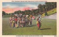 Postcard Native American Cherokee Indians Eagle Dance on Reservation