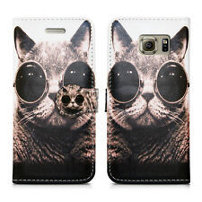 Leather Wallet Premium Card Holder Book Protective Phone Case Cover for Nokia 8 Nokia 2 Cat With Glasses - Shades Pussycat Kitten Bobcat